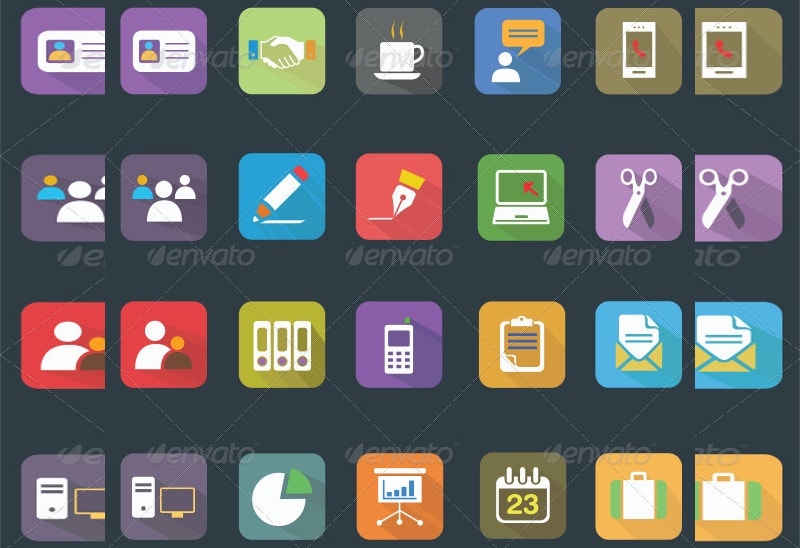 25 vector business office flat icons
