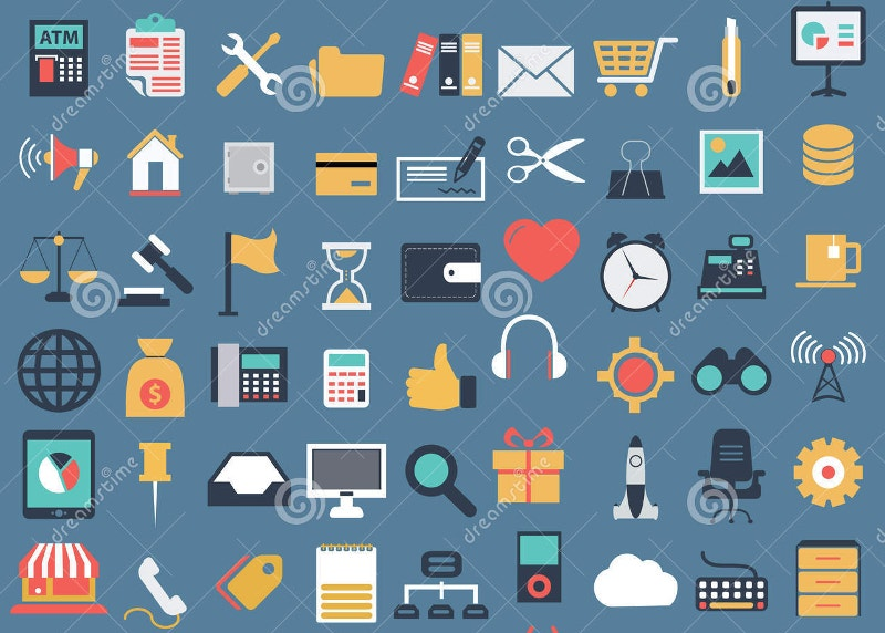 vector collection of colorful flat business icons
