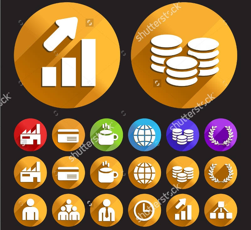 flat business icons with circular buttons