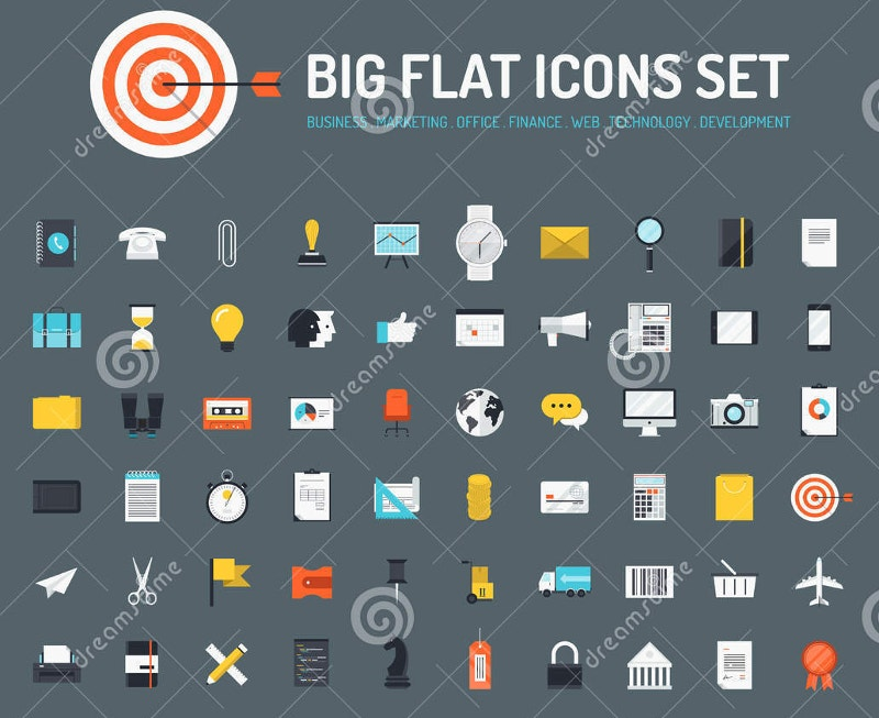 web business big flat icons set