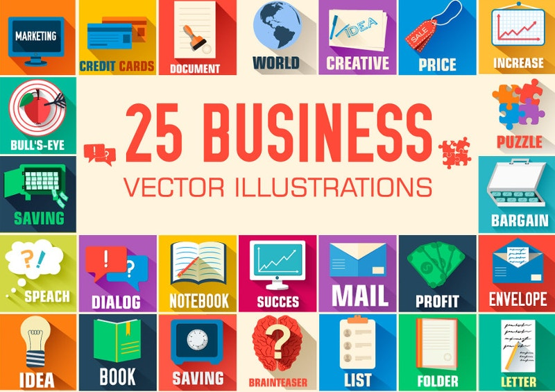 25-business-flat-icons-set