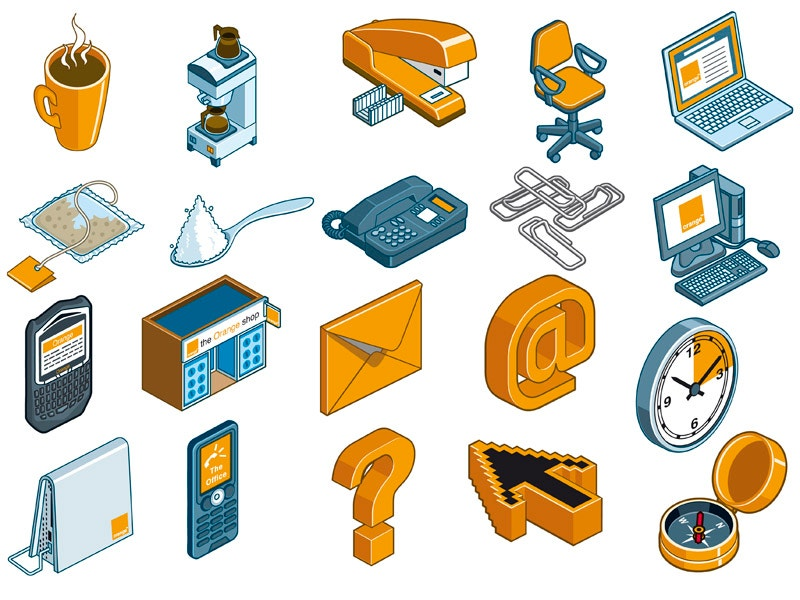 isometric orange color icons