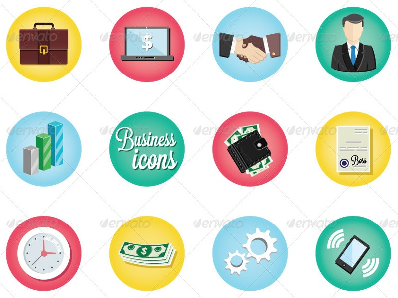 vintage business icons set1