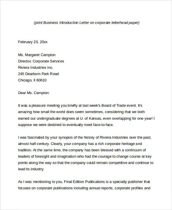 Business letter 13 free word pdf documents download for Cover letter for introducing your company