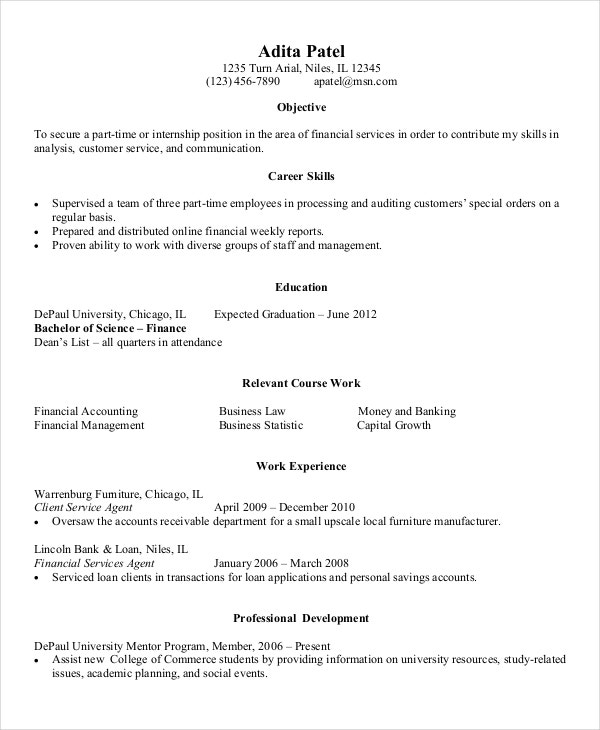 entry level resume for finance example