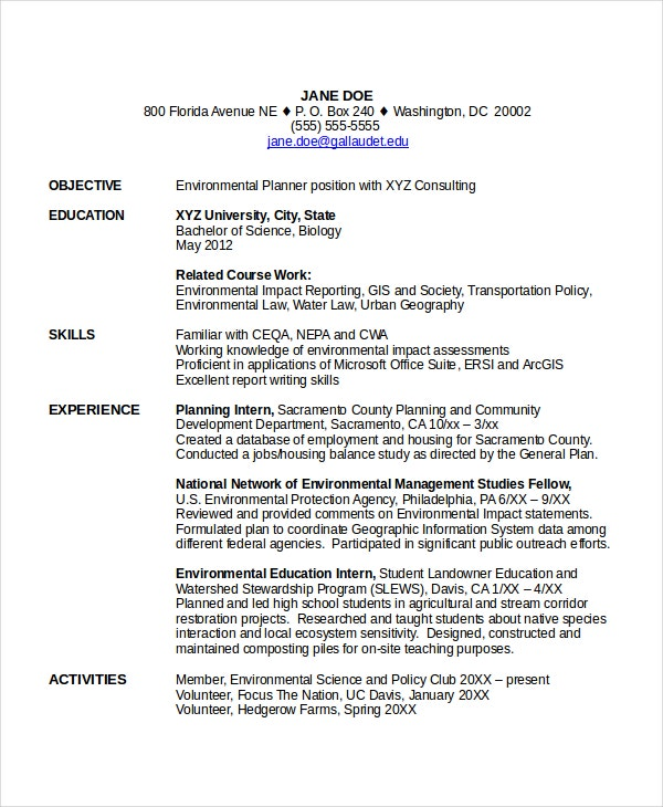 Entry Level Resume for Students Example