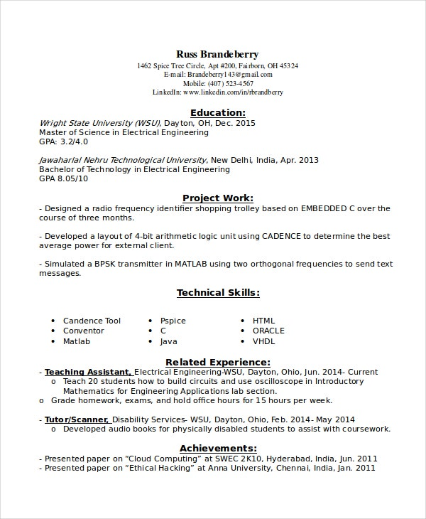 Entry Level Resume Example For Electrical Engineers