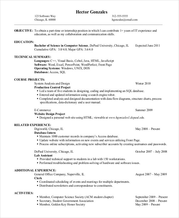 Entry Level Resume Example For IT Jobs  Resume For Part Time Job