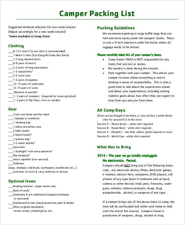 Packing List Template - 14+ Free Word, Pdf Documents Download