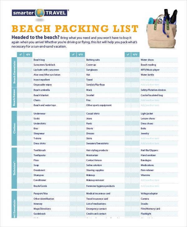 packing list template