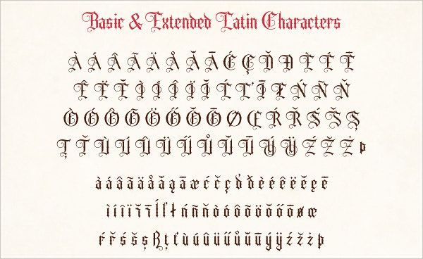 Old English Tattoo Font