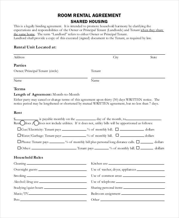 Rental Agreement Form 9 Free Sample Example Format – Tenant Agreement Form Free