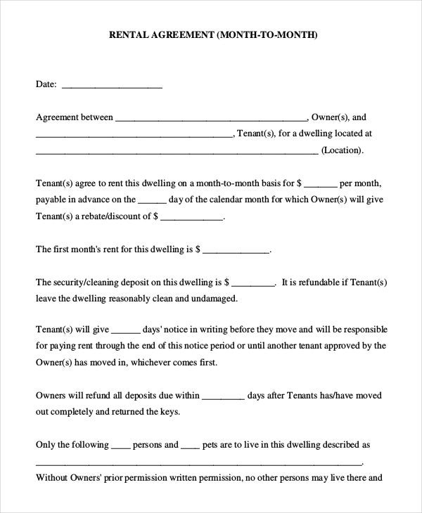 Rental Agreement Form - 9+ Free Sample, Example, Format | Free