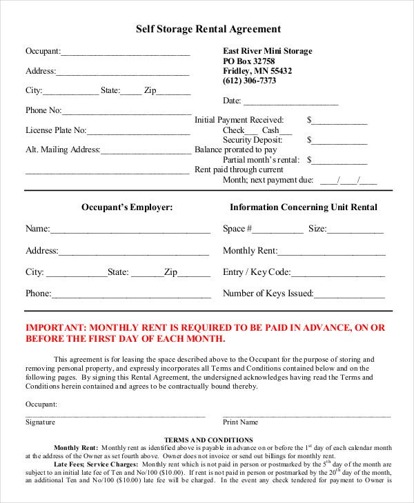 Rental Agreement Form   Free Sample Example Format  Free