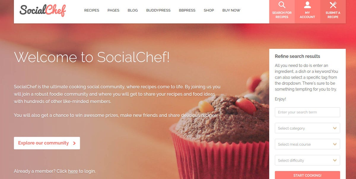 Responsive Recipe BuddyPress Theme $59