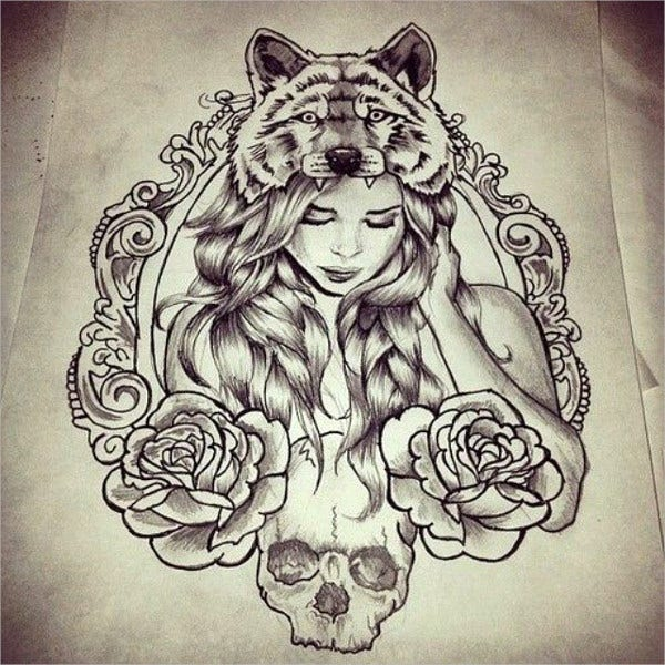 Girl With Wolf Tattoo Drawing