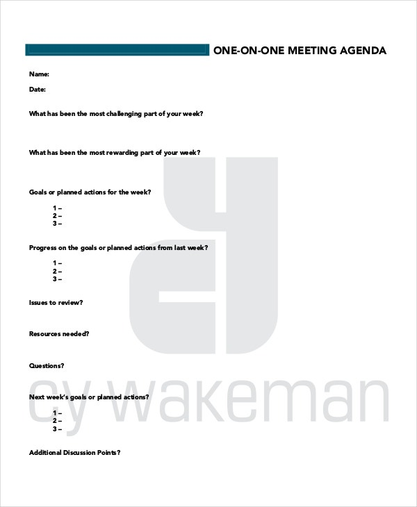 Doc16501275 one on one meeting agenda template oneonone meeting agenda template 10 free word pdf documents download one on one meeting agenda template pronofoot35fo Choice Image