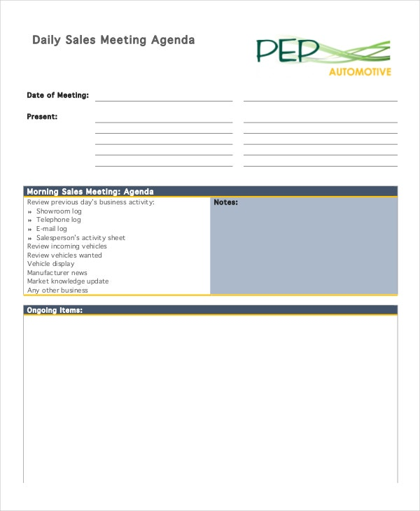 Meeting Agenda Template - 10+ Free Word, Pdf Documents Download