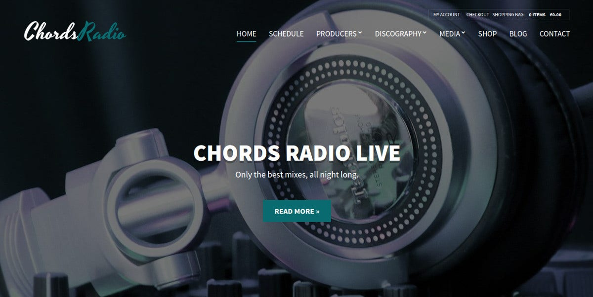Radio Artist WordPress Website Theme $59