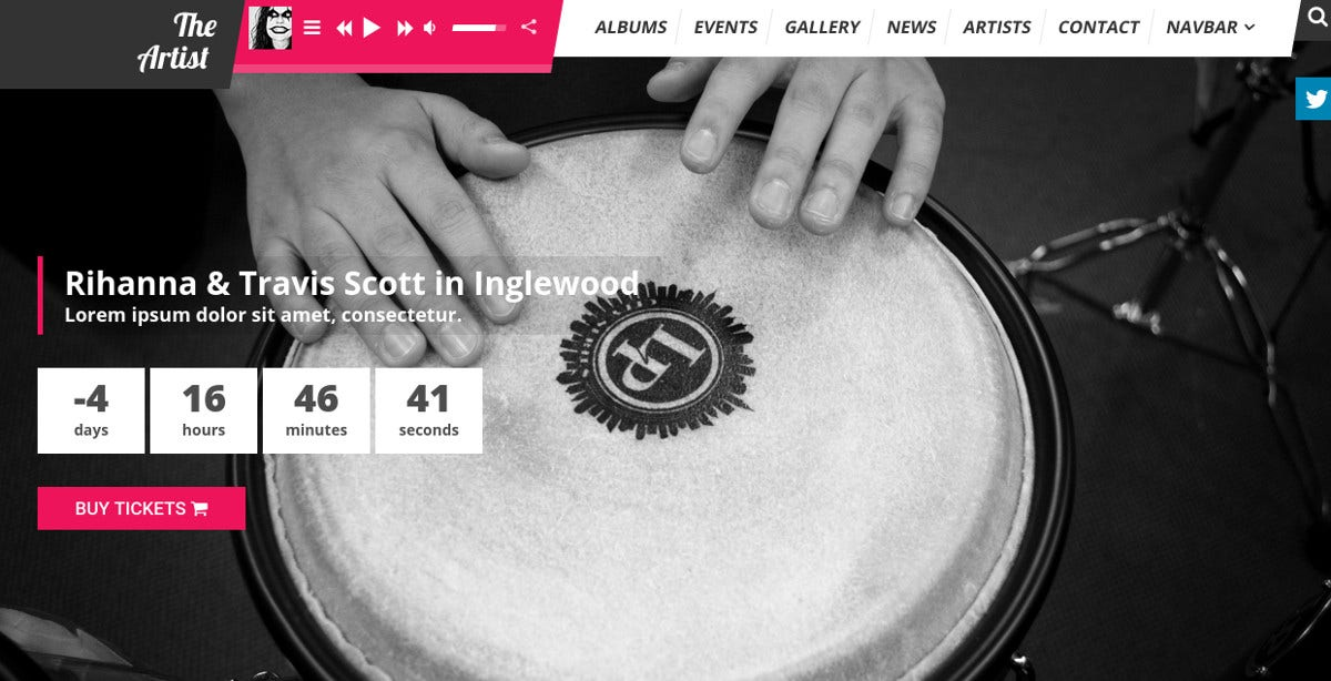 Artist Band Music WordPress Theme $59