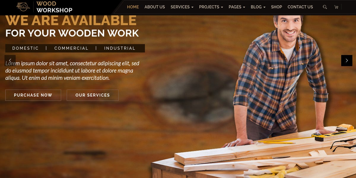 Craftsman & Carpenter WordPress Theme $59