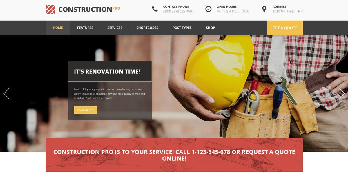 Carpenter Services Construction WordPress Theme $59
