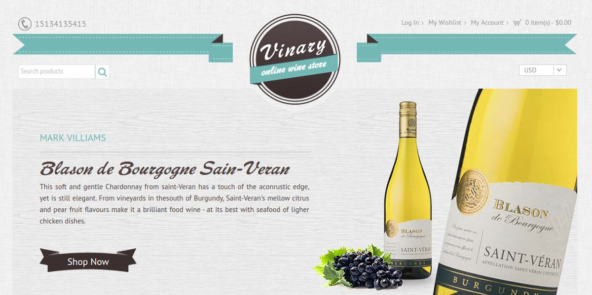 Wine Store Theme eCommerce Magento Theme $84
