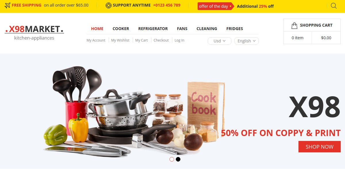 Responsive eCommerce Magento Theme for Home Appliances $79