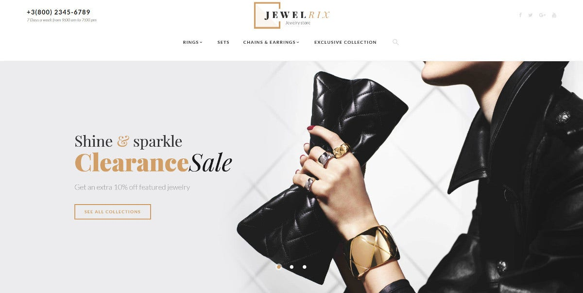 Jewelry Store eCommerce Magento Theme $179