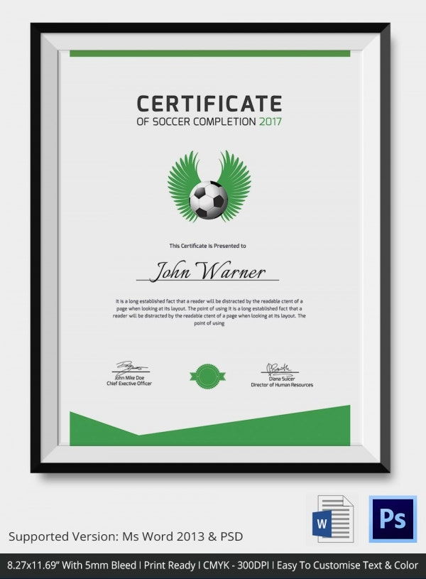 Successful Completion Soccer Certificate