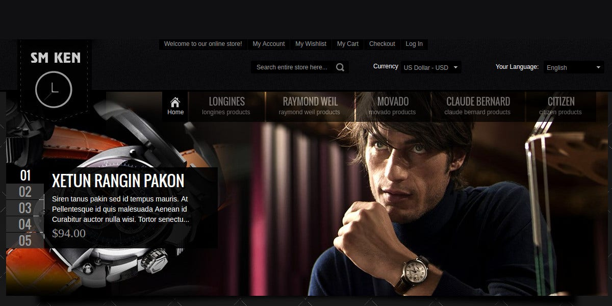 Responsive eCommerce Magento Theme for watches & Glasses $68