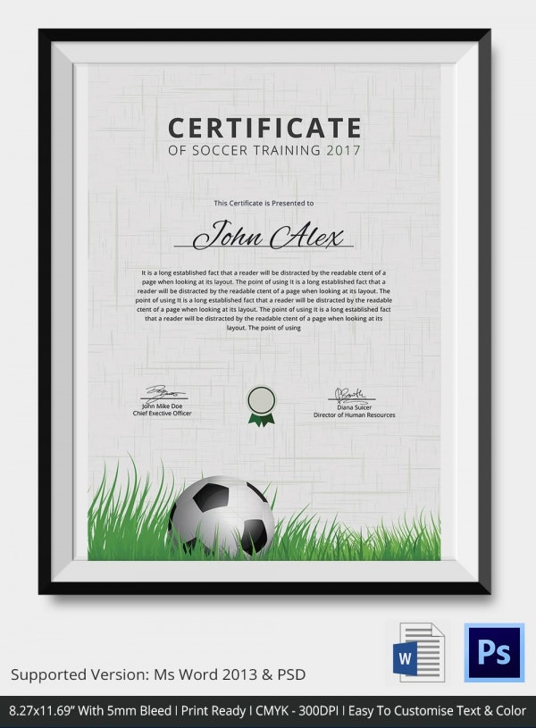 Soccer Certificate   Word Psd Format Download  Free  Premium