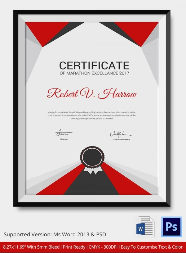 Marathon Certificate 5 Word Psd Format Download Free