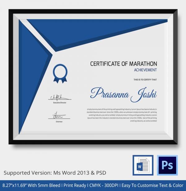Premium Marathon Certificate Template