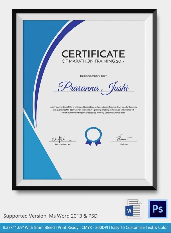marathon certificate 5 word psd format download free premium templates. Black Bedroom Furniture Sets. Home Design Ideas