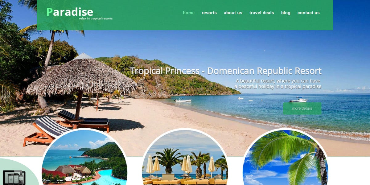 Bootstrap Travel Agency WordPress Theme $35