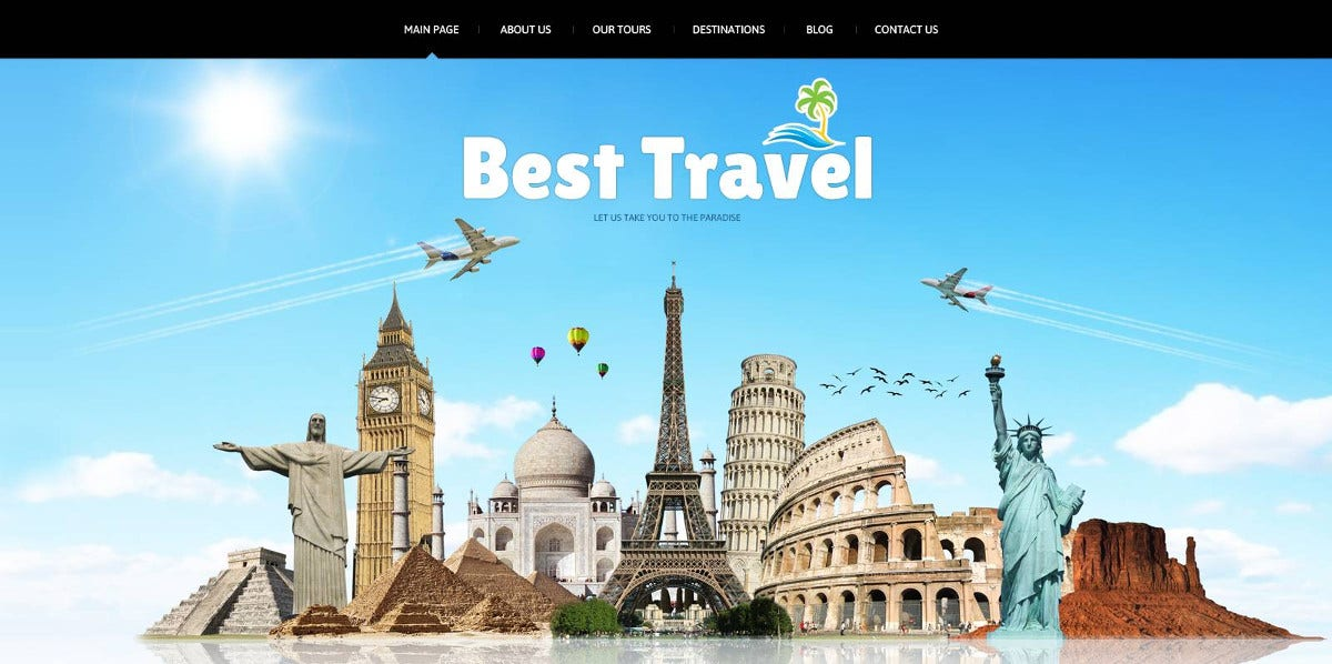 Travel Agency Social Options Joomla Template $75