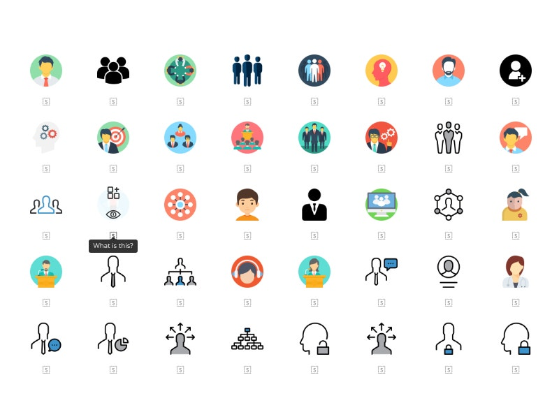 set of free isometric people icons
