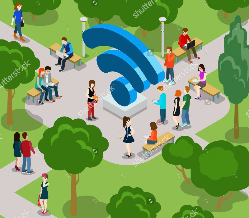 park concept isometric people icons