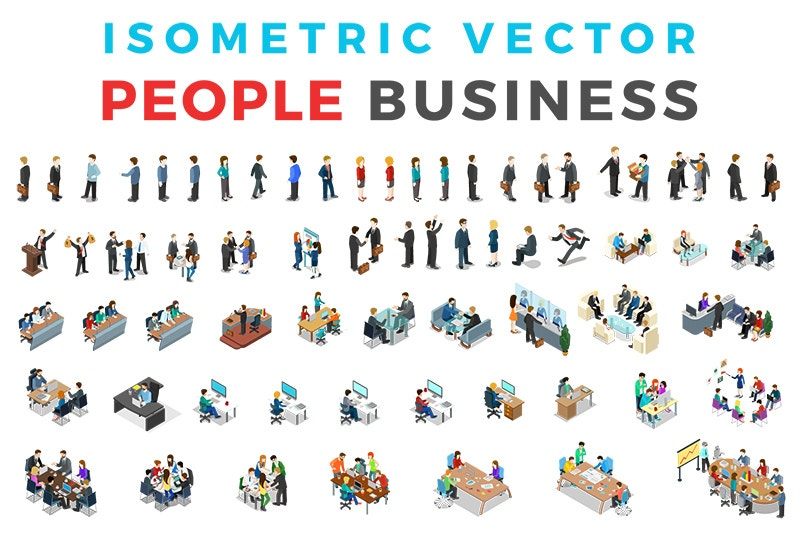 teamwork business people isometric