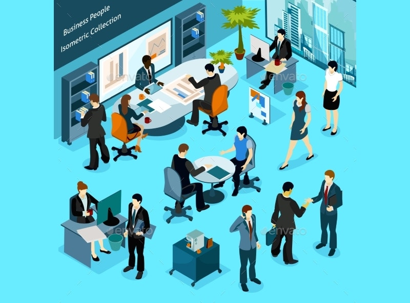 executive business people isometric icons