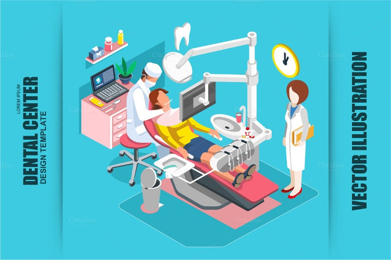 isometric people icons in dental care
