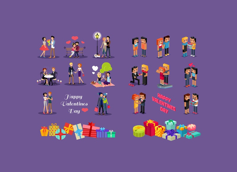isometric valentine lovable people icons