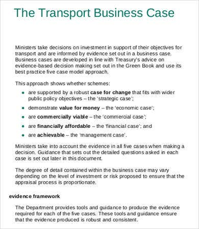 Transport Business Case Template