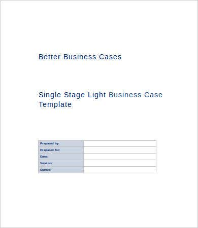 single stage light business case template