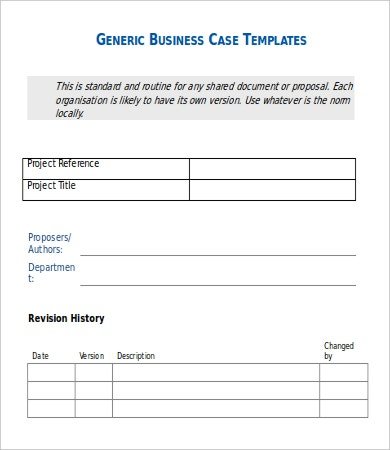 Generic Business Case Templates