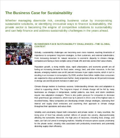 sustainable business case template