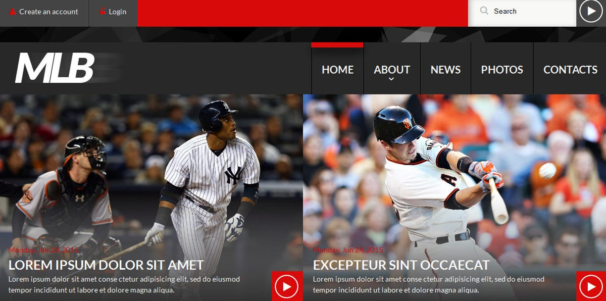 News Portal for Baseball Website Template $69