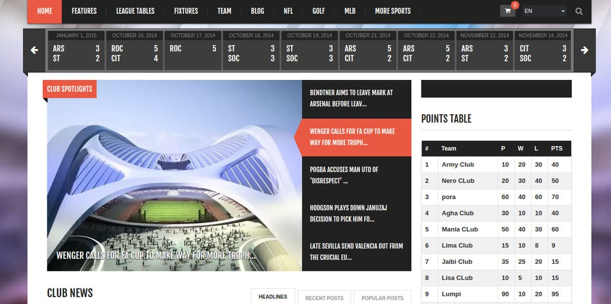 Baseball Events & Sports News WP Website Theme $59