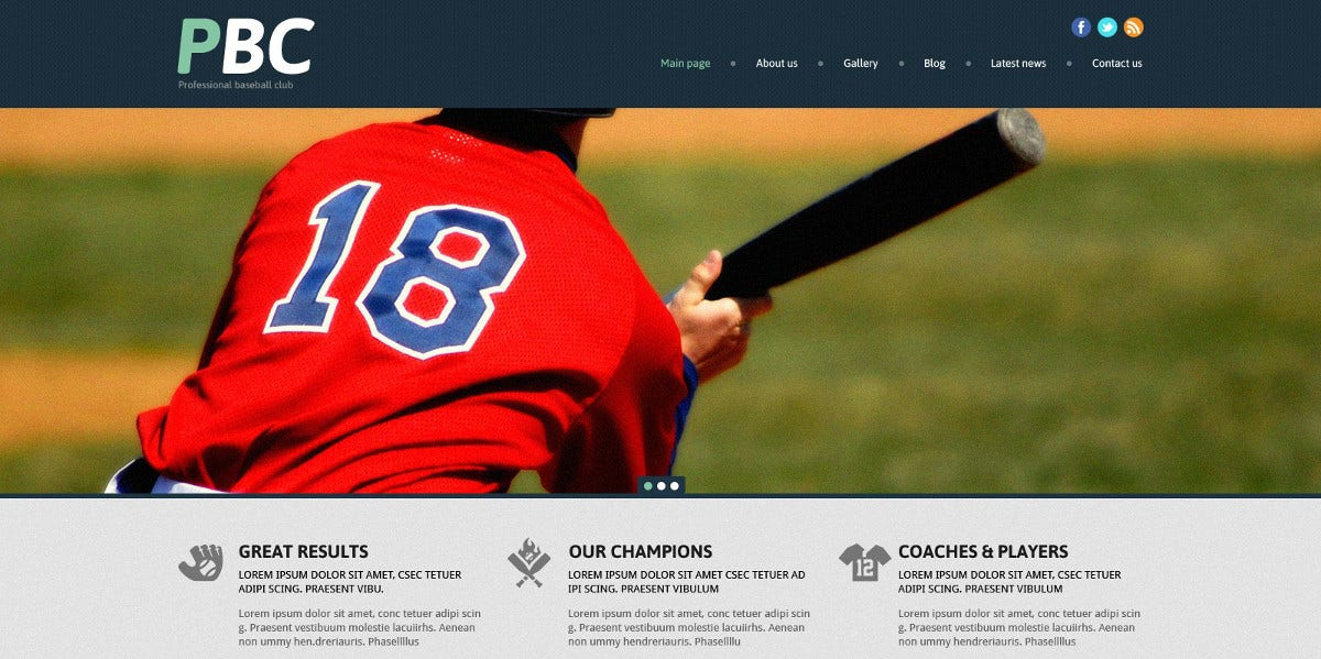 Responsive Baseball Website Theme $75